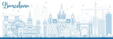 Entwurfs-Barcelona-Skyline mit blauen Gebäuden lizenzfreie abbildung