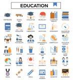 Entwurfs-Ikonensatz des Ausbildungskonzeptes flacher lizenzfreie abbildung