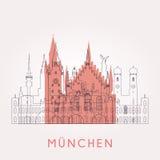 Entwurfs-München-Weinleseskyline lizenzfreie abbildung