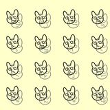 Entwurfs-Satz des Emoticons-Ikonen-Vektors Lustige banny Gesichter vektor abbildung