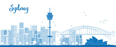 Entwurfs-Sydney City-Skyline mit Wolkenkratzern Stockbild