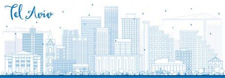 Entwurfs-Telefon Aviv Skyline mit blauen Gebäuden vektor abbildung