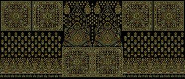 Entwurfsgrenze des nahtlosen traditionellen Inders dunkle Textil lizenzfreie stockfotografie