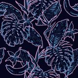 Entwurfshand, die nahtloses Muster der exotischen Blätter zeichnet Tropisches Le stock abbildung