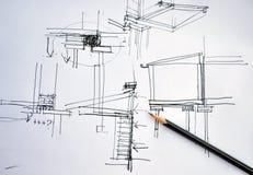 Entwurfshandzeichnungs-Architekturplan mit Bleistift lizenzfreie stockfotos