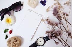 Entwurfshintergrundschablone mit Notizbüchern, Gläsern, Papier, Uhren und Trockenblumen lizenzfreie stockbilder