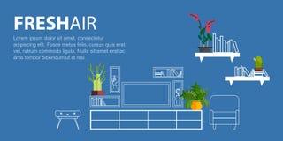 Entwurfsinnenraum verziert mit flachen homeplant Blumen Lizenzfreies Stockbild