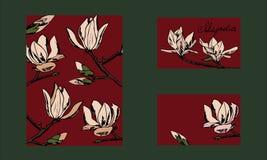 Entwurfspostkarte, -Visitenkarte oder -einladung Hand gezeichnete Art Magnolienzweige lizenzfreie abbildung