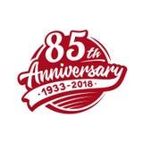 Entwurfsschablone des Jahrestages 85years Vektor und Illustration 85. Logo lizenzfreie abbildung