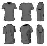 Entwurfsschablonen T-Shirt des kurzen Ärmels der Männer schwarze Lizenzfreie Stockbilder
