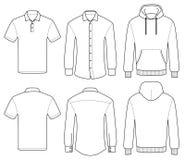 Entwurfsschablonenpolo, -hemd und -Kapuzenpulli Stockfotos