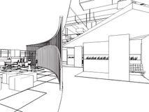 Entwurfsskizze eines Innenraums Stockbild