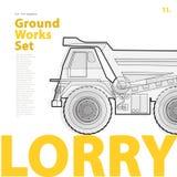 Entwurfstypographie eingestellt mit Lastwagen Umrissener LKW Baumaschinenfahrzeug Lizenzfreies Stockbild