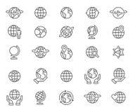 Entwurfsweltkugelikonen eingestellt stock abbildung