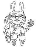 Entwurfszeichnung ein netter Kaninchenmädchensonderling in den Gläsern mit Spielzeug- und Süßigkeitszeichentrickfilm-figur auf lo Stockbilder