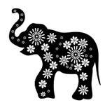 Entwurfszeichnung eines Elefantschwarzen mit weißen Blumen Stockbilder