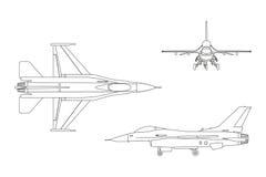 Entwurfszeichnung von Militärflugzeugen Spitze, Seite, Vorderansicht stock abbildung