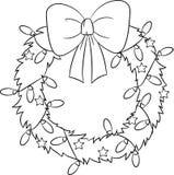 Entzückende Illustration eines Weihnachtskranzes, in Schwarzweiss, vervollkommnen für das Malbuch der Kinder lizenzfreie abbildung