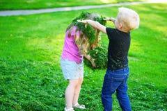 Entzückende Kinder, die mit cutted Gras spielen Lizenzfreie Stockfotos