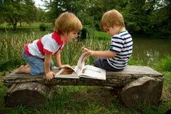 Entzückende kleine Zwillingsbrüder, die auf einer Holzbank sitzen und interessante Bilder im Buch nahe dem schönen See betrachten Stockbild