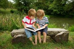 Entzückende kleine Zwillingsbrüder, die auf einer Holzbank sitzen und sehr sorgfältig ein Buch nahe dem schönen See lesen Stockfotografie