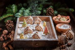 Entzückende Lebkuchenhäuschen für Weihnachten mit Schneemann und Bäumen lizenzfreie stockfotos