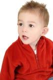 Entzückender Einjahresjunge in der roten Strickjacke Lizenzfreies Stockfoto