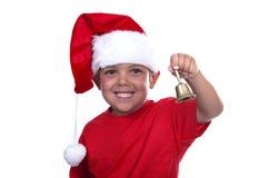 Entzückender Junge gekleidet als Weihnachtsmann Stockfotos