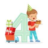 Entzückender Junge mit vier Jährigen, der seinen Geburtstag mit Geburtstagskuchen, bunte Zeichentrickfilm-Figur-Vektor Illustrati Stockfotografie