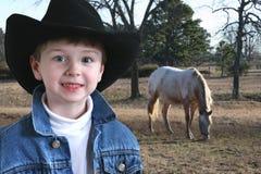 Entzückender vier Einjahrescowboy stockbilder