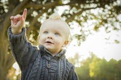 Entzückendes blondes Baby auf den Park draußen zeigen Stockfotos