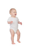 Entzückendes blondes Baby in der Unterwäsche Stockfoto