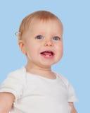 Entzückendes blondes Baby mit zwei kleinen Zähnen Stockbilder