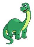 Entzückendes grünes Karikaturdinosauriermaskottchen Lizenzfreie Stockfotos