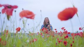 Entzückendes junges Mädchen, das auf dem Mohnblumengebiet erfasst Blumen im Weidenkorb geht Verbindung mit Natur Gr?n und Rot stock video footage