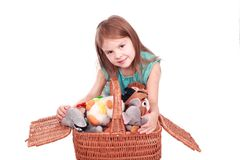 Entzückendes Kind mit Spielwaren Stockfotos