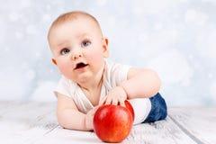 Entzückendes kleines Baby, das mit Äpfeln spielt Stockfoto