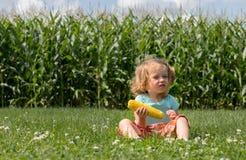 Entzückendes kleines blondes kaukasisches Mädchen sitzt auf dem Feld und isst einen Mais Die Stiele von Mais sind als Hintergrund Lizenzfreies Stockfoto