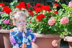 Entzückendes kleines Kindermädchen im Park nahe Blumenbeet am Sommertag Stockbild