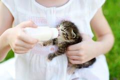 Entzückendes kleines Mädchen, das kleines Kätzchen mit Kätzchenmilch von der Flasche einzieht Lizenzfreie Stockfotos