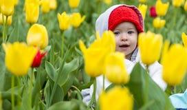 Entzückendes kleines Mädchen, das Tulpen im Garten erfasst Stockbild