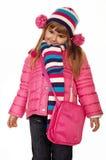 Entzückendes kleines Mädchen in der Winterkleidung Lizenzfreies Stockfoto