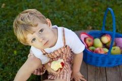 Entzückendes Kleinkind, das den frischen Apfel im Freien isst Stockfoto