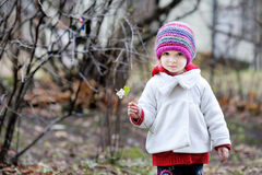 Entzückendes Kleinkind, das Spaß am Herbsttag hat Stockbilder