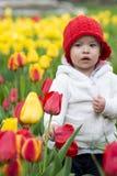 Entzückendes Kleinkindmädchen, das Tulpen im Garten erfasst Lizenzfreie Stockfotografie