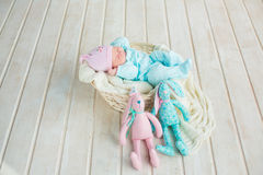 Entzückendes nettes süßes Baby, das im weißen Korb auf Bretterboden mit zwei Spielzeug tilda Kaninchen schläft Lizenzfreie Stockfotografie