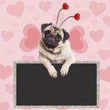 Entzückendes süßes Pughündchen, das am leeren Tafelzeichen auf rosa Hintergrund mit Herzen hängt stockfoto