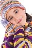 Entzückendes kleines Mädchen mit Kleidung für den Winter Lizenzfreies Stockbild