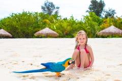 Entzückendes kleines Mädchen am Strand mit buntem Papageien Stockbilder