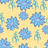 Entziehen Sie Abbildung mit blauen Blumen Stockbilder